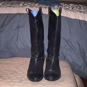 Black Cowboy Boots with Zip